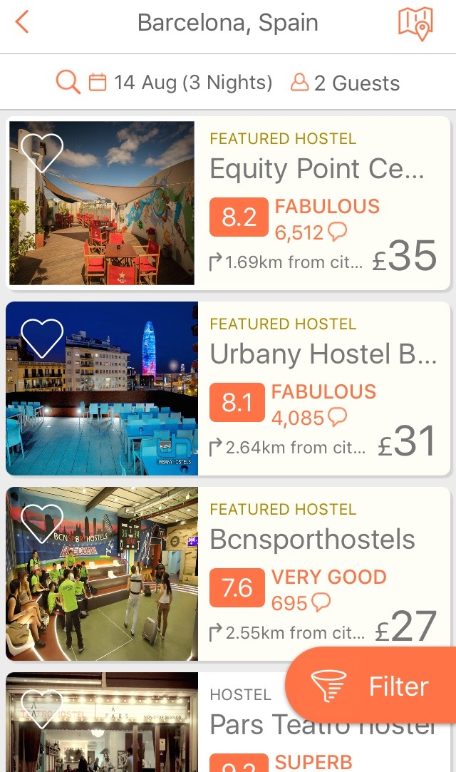 Hostelworld page travel app